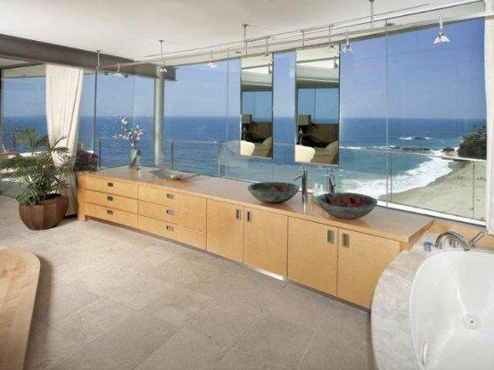 Contemporanea casa de playa con paredes de vidrio transparente-Casas ...