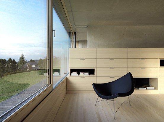 Casa minimalista de concreto con madera suave en el for Casa de lujo minimalista y espectacular con piscina por a cero