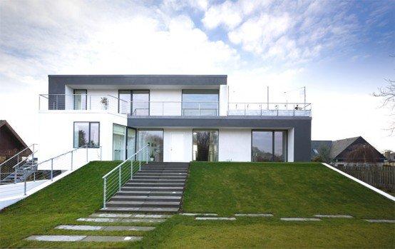 Dise o exclusivo de casa con una gran piscina cubierta - Cubiertas para casas ...