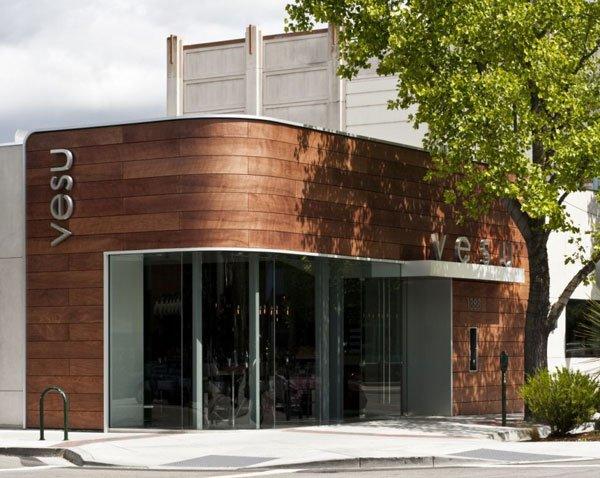 Fachada moderna de restaurantes vesu en walnut creek for Fachadas oficinas minimalistas