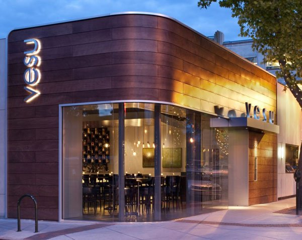 Fachada moderna de restaurantes vesu en walnut creek for Cafe design exterior