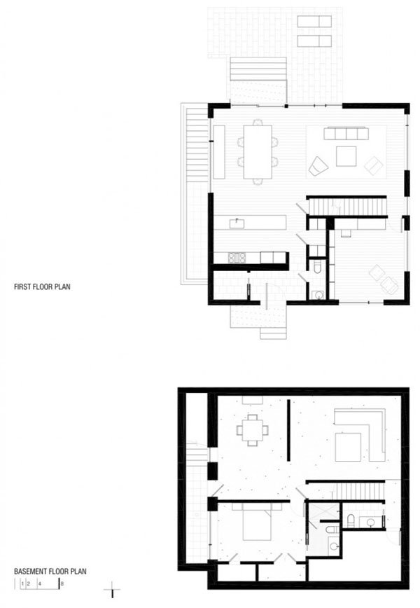 C modo y minimalista casa en forma de cubo con for Y shaped house plans