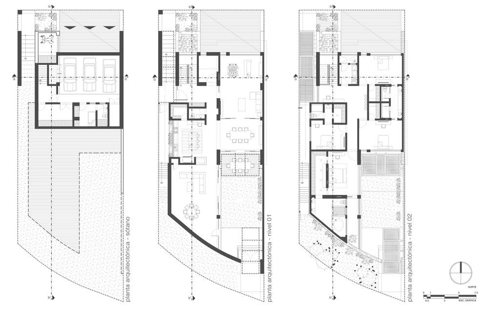 Fachadas y planos de casas modernas de tres pisos en for Niveles en planos arquitectonicos