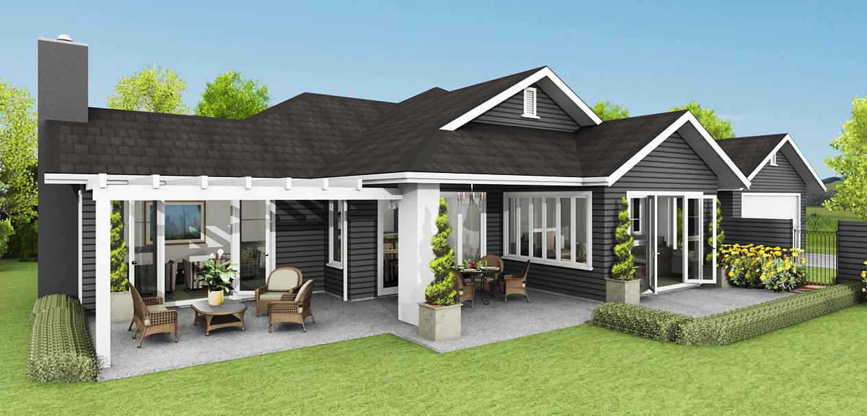 Planos de casas de un piso fachadas y planos de 10 for Modern weatherboard home designs