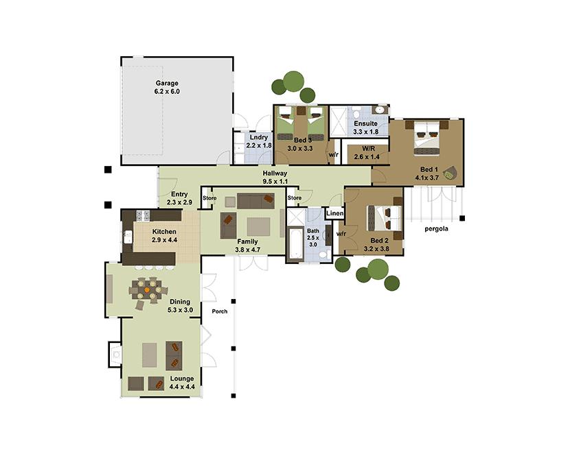 Planos de casas de un piso fachadas y planos de 10 for Planos de casas de campo de un piso