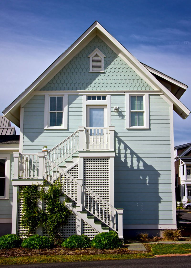Great Blue Outdoor Stair Victorian House Styles Architecture Simple Design