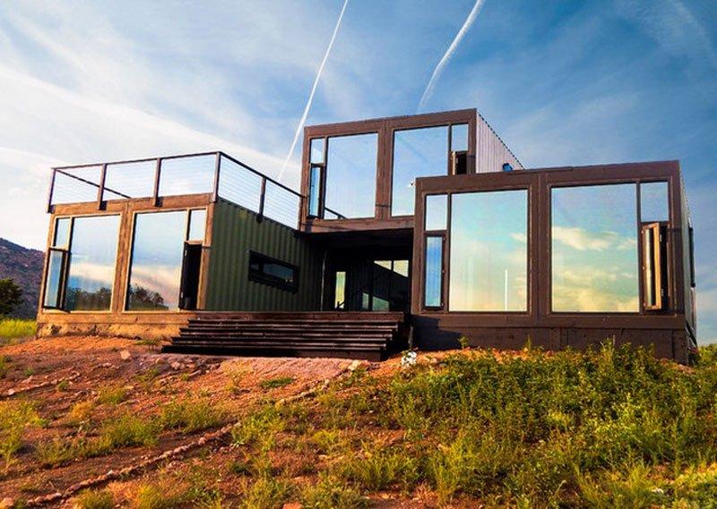 15 bien dise adas fachadas de casas prefabricadas con for Casas de container modernas